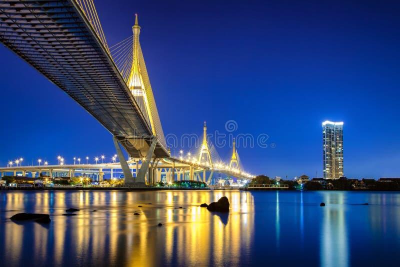 Ponte de Bhumibol em Banguecoque Tailândia, igualmente conhecida como o Industria imagem de stock