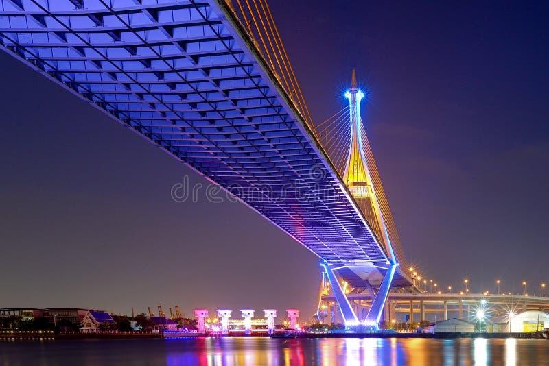 Ponte de Bhumibol na noite fotografia de stock royalty free