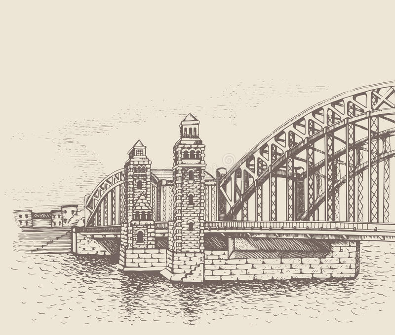 Ponte de Bolsheokhtinsky, St Petersburg, Rússia ilustração royalty free