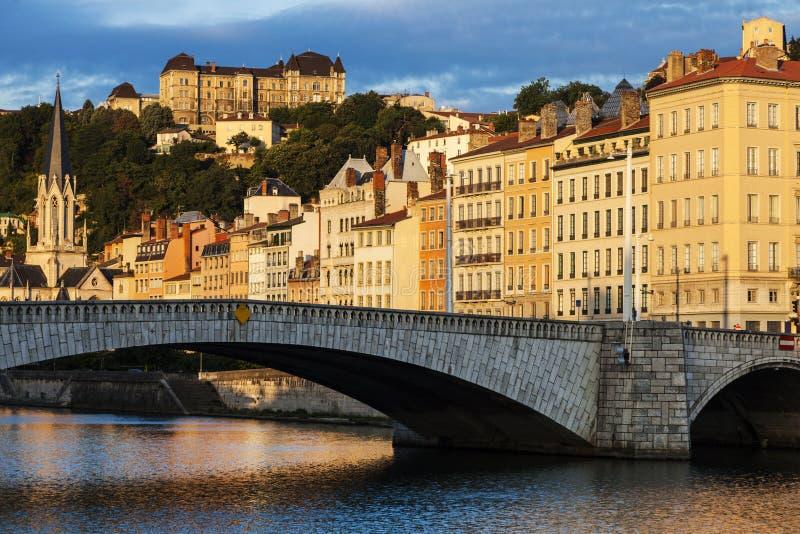 Ponte de Bonaparte em Lyon fotos de stock royalty free