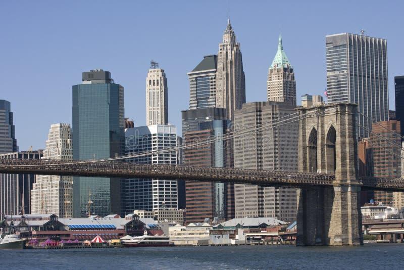 Ponte de Brookling, skyline de New York fotografia de stock royalty free