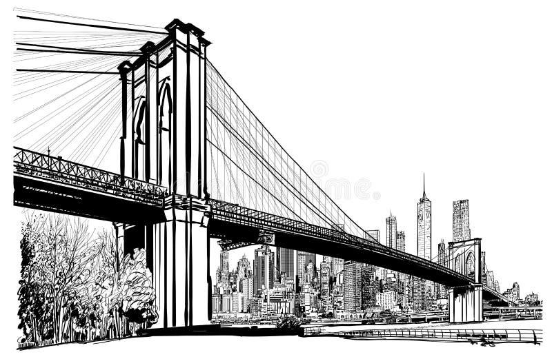 Ponte de Brooklyn em New York ilustração do vetor