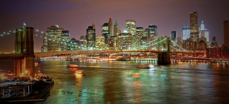 Ponte de Brooklyn em NYC no por do sol imagens de stock royalty free