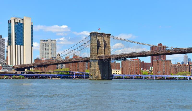 A ponte de Brooklyn famosa 1883, híbrida cabo-ficou, ponte de suspensão em New York City EUA Dia ensolarado brilhante foto de stock