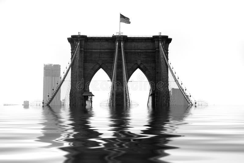 Ponte de Brooklyn inundada imagem de stock