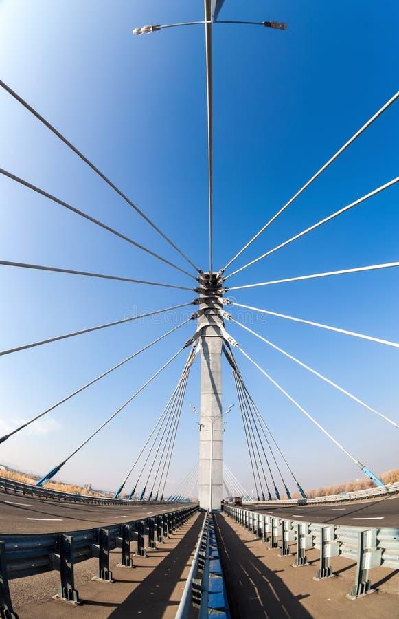 Ponte de cabo através de Samara River, Rússia imagens de stock royalty free