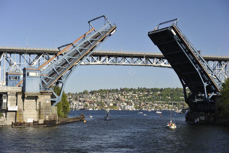 Ponte de equilíbrio, Seattle, EUA fotografia de stock