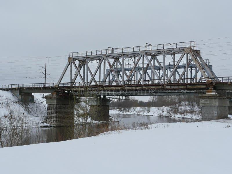 Ponte de estrada de ferro de aço americana imagem de stock
