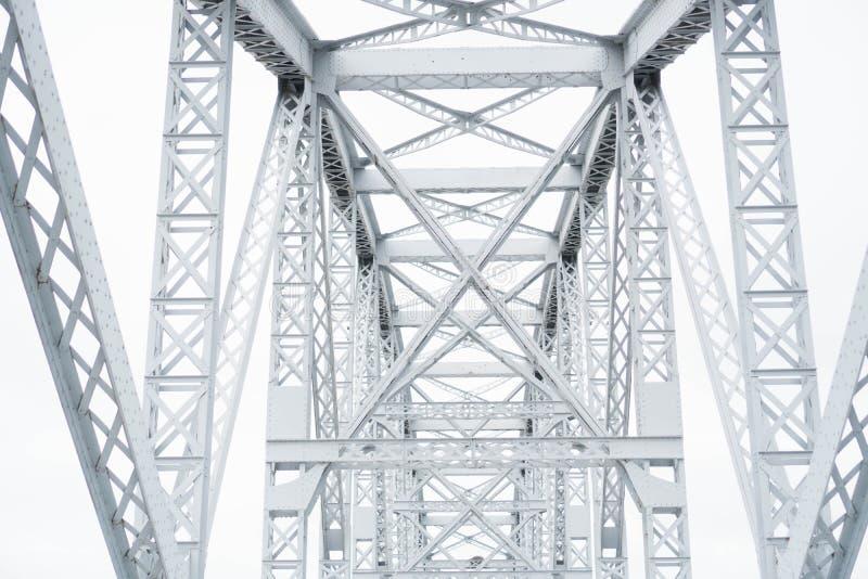 Ponte de estrada de ferro de aço do metal Estrutura de conexão sobre a estrada de ferro Feixes de conexão metálicos que cruzam-se imagens de stock