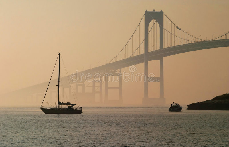 Ponte de Jamestown Verrazano, RI imagem de stock