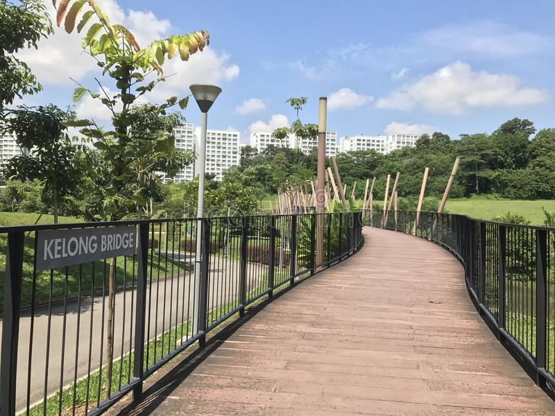 Ponte de Kelong na via navegável de Punggol fotos de stock