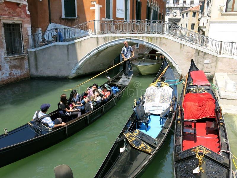 Ponte de la Cortesia, Venice. Boats near Ponte de la Cortesia, Venezia stock photo