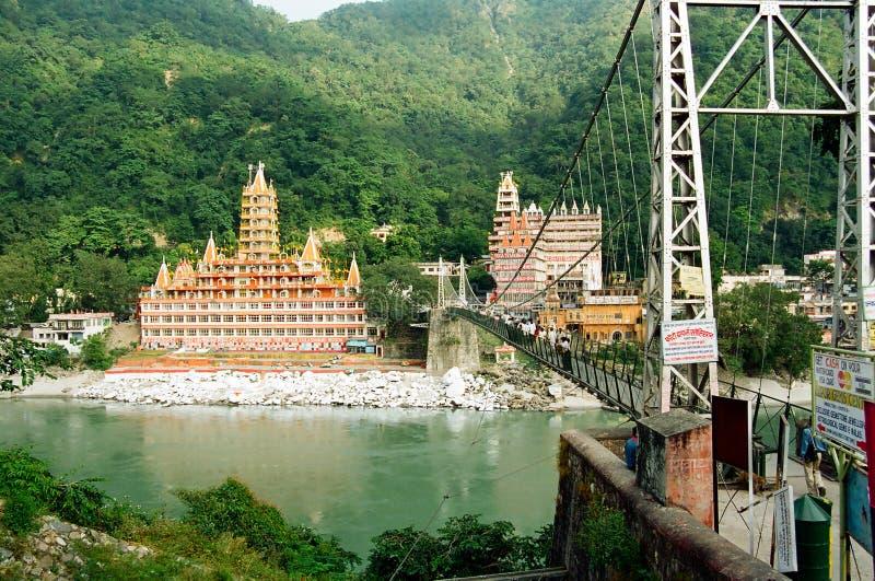 Ponte de Lakshman Jhula, Rishikesh fotografia de stock
