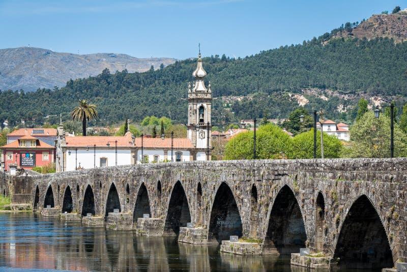 Roman Bridge in Ponte de Lima, Portugal stock images