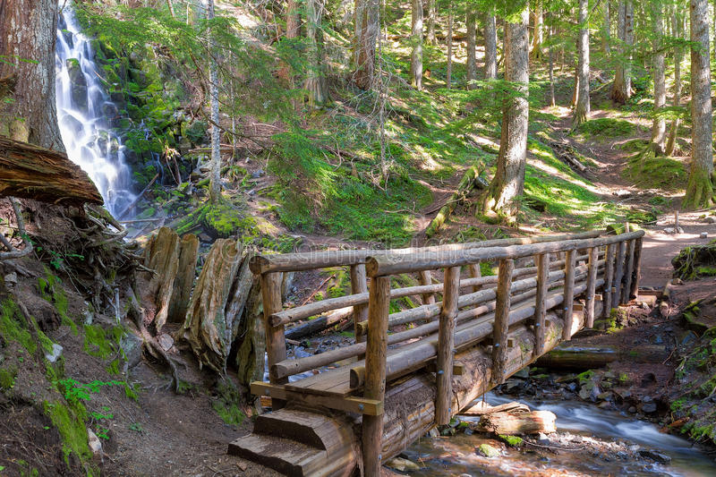 Ponte de madeira do pé por Ramona Falls imagens de stock royalty free