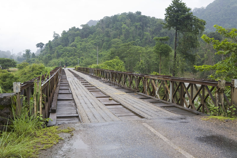 Ponte de madeira, Laos imagens de stock