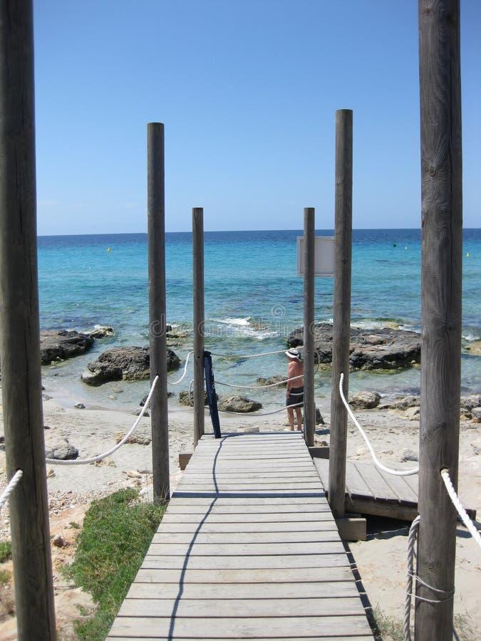 Ponte de madeira na praia foto de stock