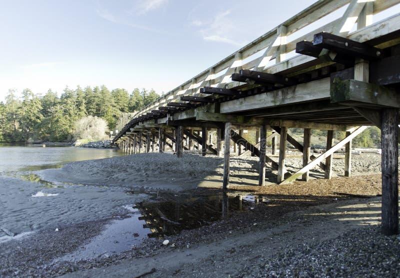 Ponte de madeira pequena na lagoa de Esquimalt, ilha de Vancôver fotografia de stock royalty free