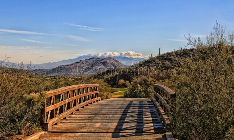 Ponte de madeira Tucson o Arizona Jw Marriott Golfcourse imagens de stock royalty free