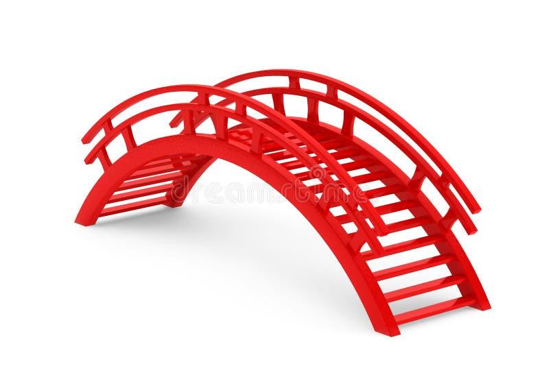 Ponte de madeira vermelha do close up 3d ilustração stock