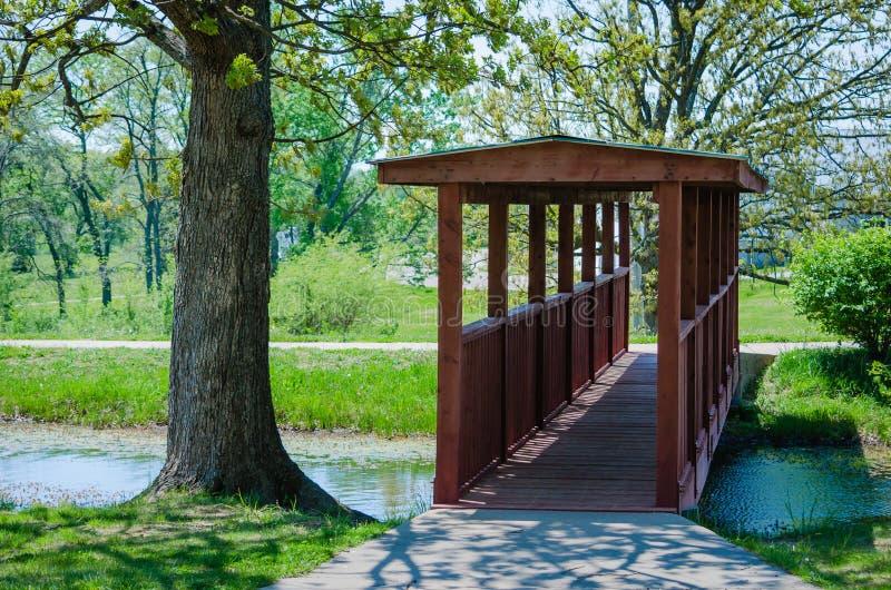 Ponte de passeio de madeira sobre a água fotos de stock