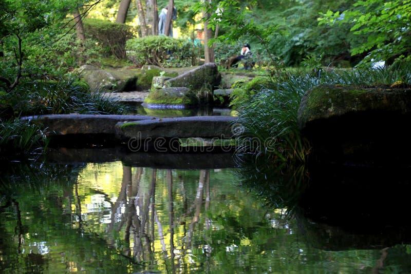 Ponte de pedra na lagoa foto de stock