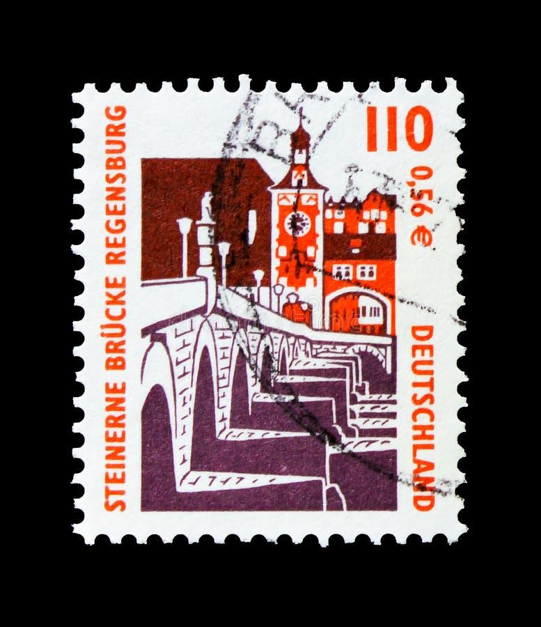 A ponte de pedra, Regensburg, observa o serie, cerca de 2000 imagens de stock royalty free