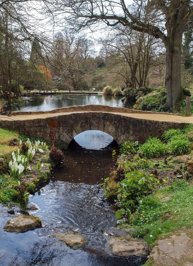 Ponte de pedra sobre a paisagem do córrego fotografia de stock royalty free