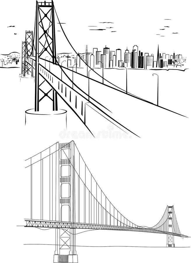 Ponte de porta dourada ilustração stock