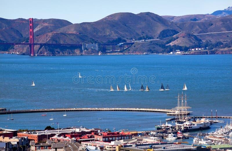 Ponte de porta dourada San Francisco do cais do pescador fotografia de stock royalty free