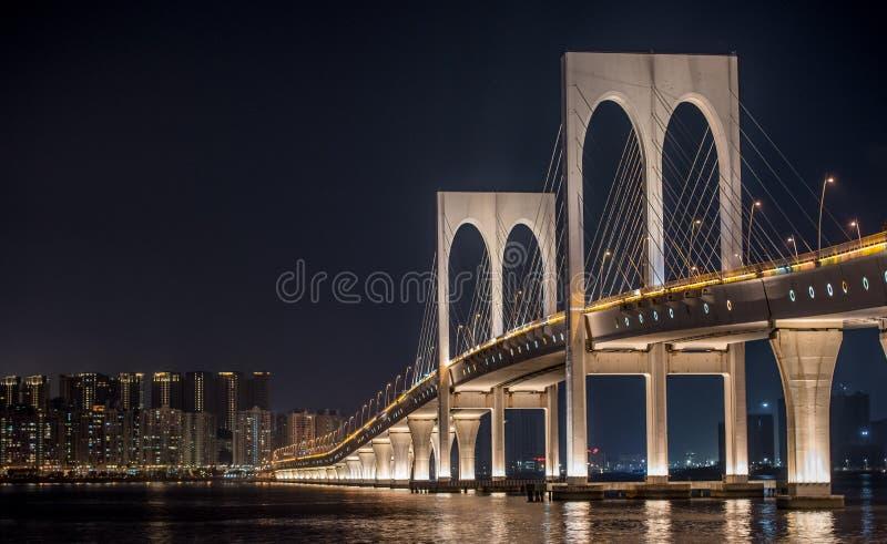 Ponte de Sai Van, bridge in Macao at night with lights royalty free stock photos
