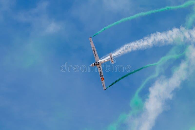 PONTE DE SOR, PORTUGAL -   3 JUNHO, 2019 : aerobatic team performs aerobatics. PORTUGAL  AIR  SUMMIT stock photo