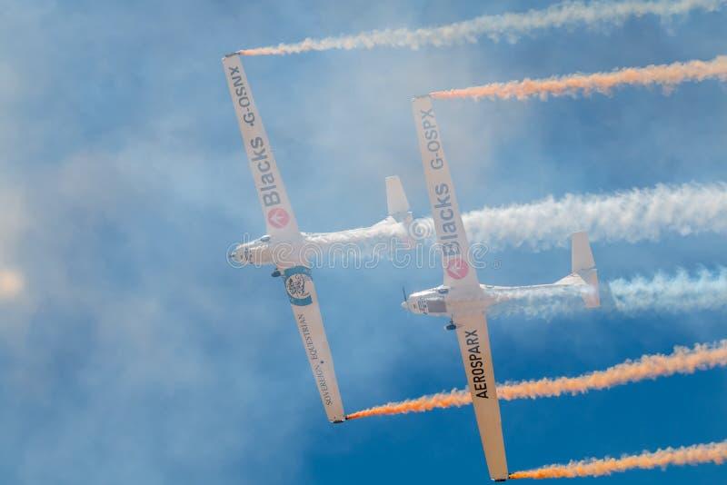 PONTE DE SOR, PORTUGAL -   3 JUNHO, 2019 : aerobatic team performs aerobatics. PORTUGAL  AIR  SUMMIT stock image