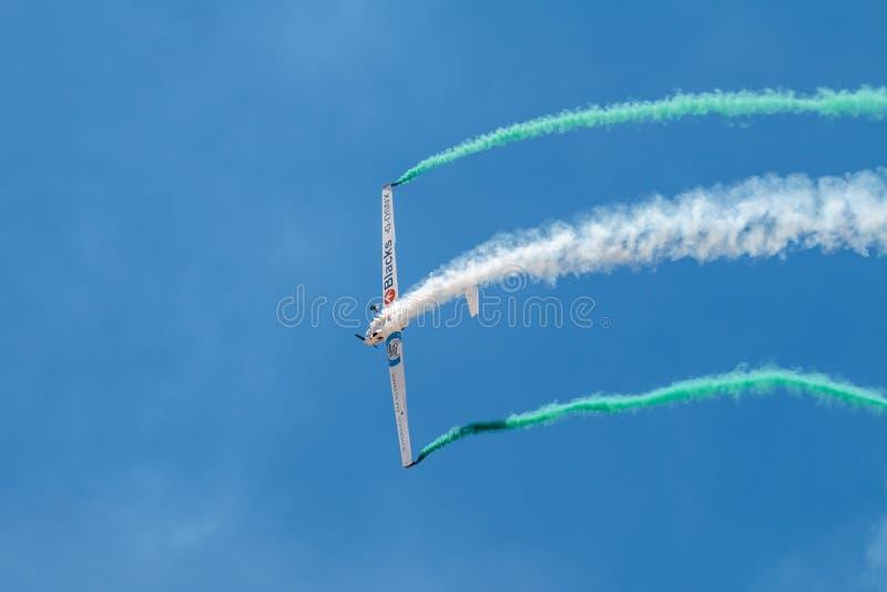 PONTE DE SOR, PORTUGAL -   3 JUNHO, 2019 : aerobatic team performs aerobatics. PORTUGAL  AIR  SUMMIT stock photos
