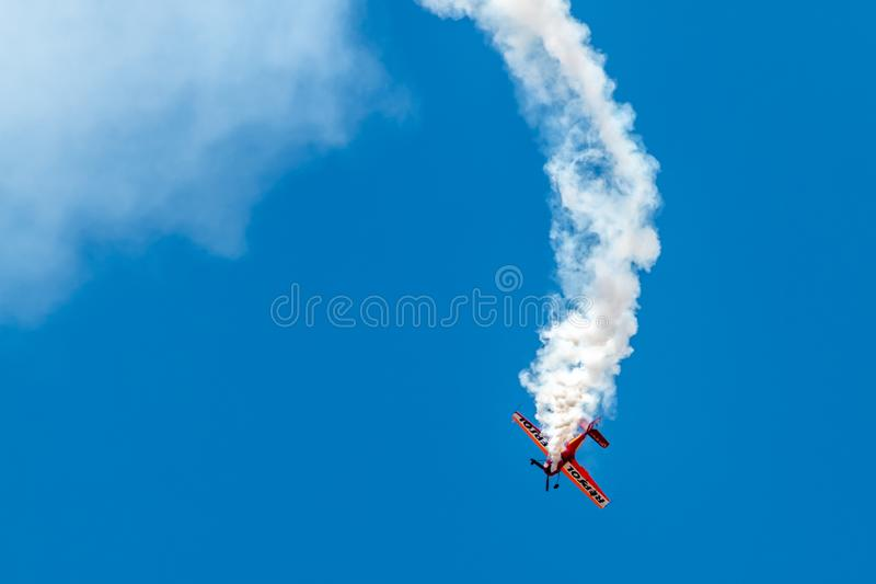 PONTE DE SOR, PORTUGAL -   3 JUNHO, 2019 : Air Show, pilot in flight action. PORTUGAL  AIR  SUMMIT. PONTE DE SOR, PORTUGAL - 3 JUNHO, 2019 : Air Show, pilot in royalty free stock images