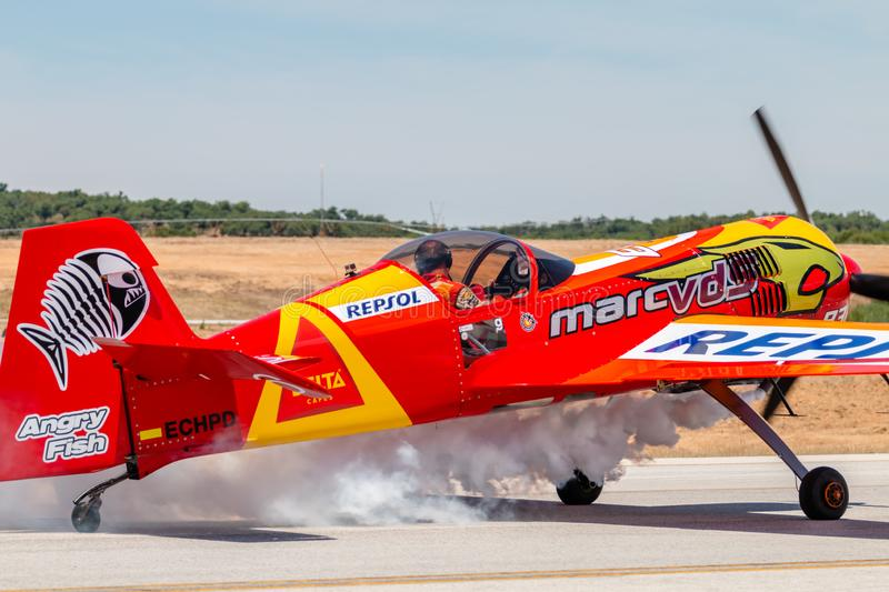 PONTE DE SOR, PORTUGAL -   3 JUNHO, 2019 : Air Show, pilot in flight action. PORTUGAL  AIR  SUMMIT.  stock photo