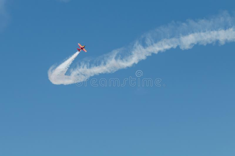 PONTE DE SOR, PORTUGAL -   3 JUNHO, 2019 : Air Show, pilot in flight action. PORTUGAL  AIR  SUMMIT.  royalty free stock photo