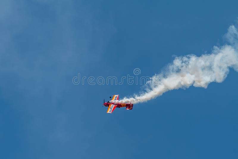 PONTE DE SOR, PORTUGAL -   3 JUNHO, 2019 : Air Show, pilot in flight action. PORTUGAL  AIR  SUMMIT.  stock image
