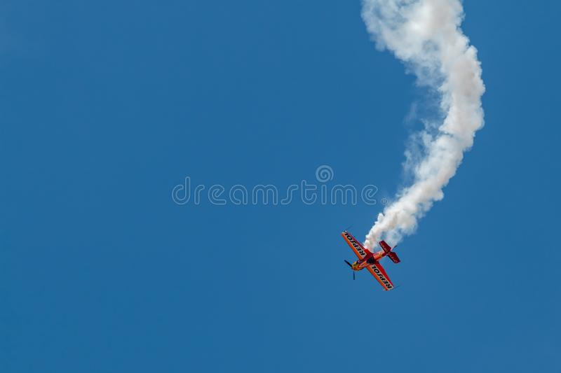 PONTE DE SOR, PORTUGAL -   3 JUNHO, 2019 : Air Show, pilot in flight action. PORTUGAL  AIR  SUMMIT. PONTE DE SOR, PORTUGAL - 3 JUNHO, 2019 : Air Show, pilot in royalty free stock image