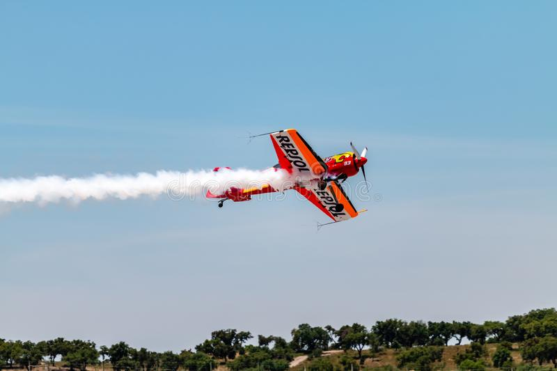 PONTE DE SOR, PORTUGAL -   3 JUNHO, 2019 : Air Show, pilot in flight action. PORTUGAL  AIR  SUMMIT.  royalty free stock images