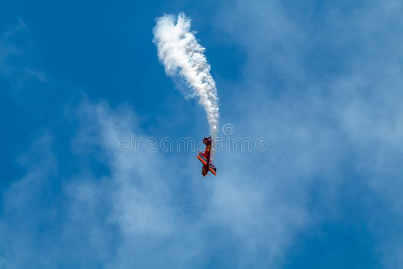 PONTE DE SOR, PORTUGAL -   3 JUNHO, 2019 : Air Show, pilot in flight action. PORTUGAL  AIR  SUMMIT.  stock photos