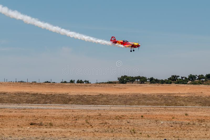 PONTE DE SOR, PORTUGAL -   3 JUNHO, 2019 : Air Show, pilot in flight action. PORTUGAL  AIR  SUMMIT.  stock images