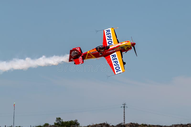 PONTE DE SOR, PORTUGAL -   3 JUNHO, 2019 : Air Show, pilot in flight action. PORTUGAL  AIR  SUMMIT.  stock photography