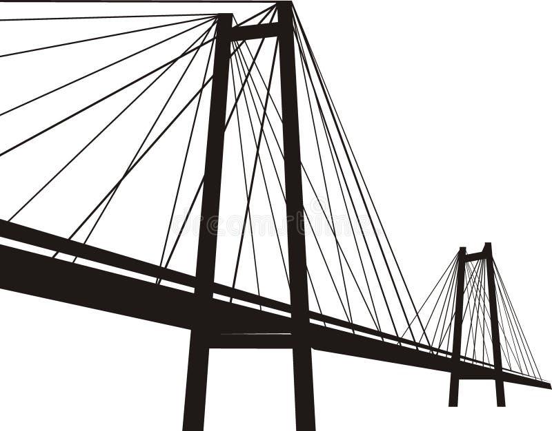 ponte de suspensão Cabo-permanecida ilustração stock