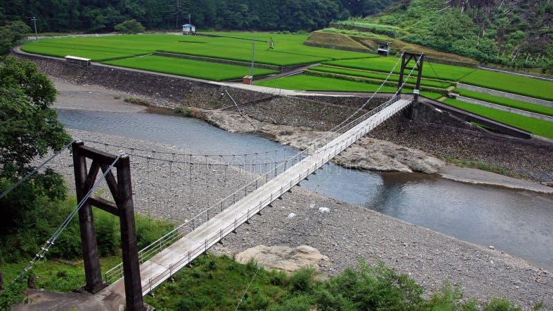 Ponte de suspensão em Wakayama, Japão fotografia de stock