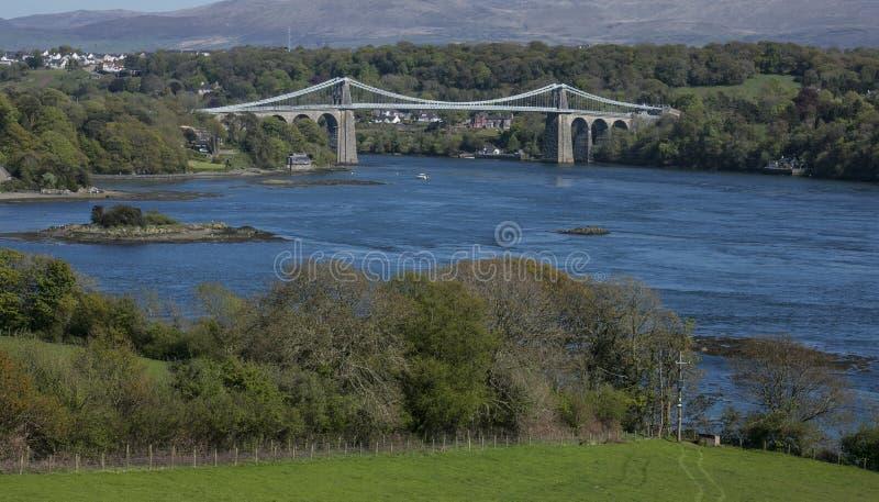A ponte de suspensão de Menai, Gales norte fotos de stock royalty free