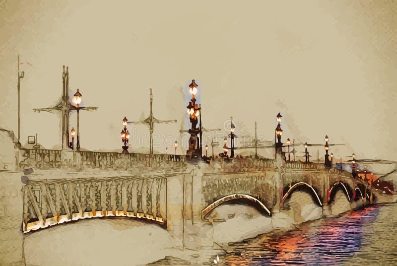 Ponte de Troitskiy ilustração stock