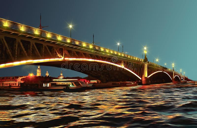 Ponte de Troitsky sobre Neva River em uma noite branca ilustração royalty free