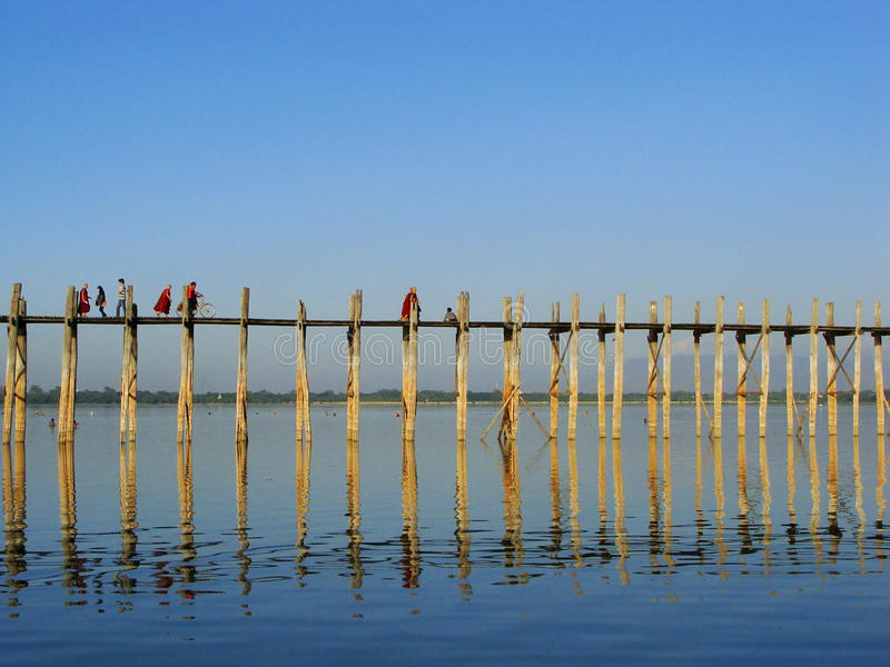 Ponte de U Bein, Amarapura, Myanmar fotografia de stock