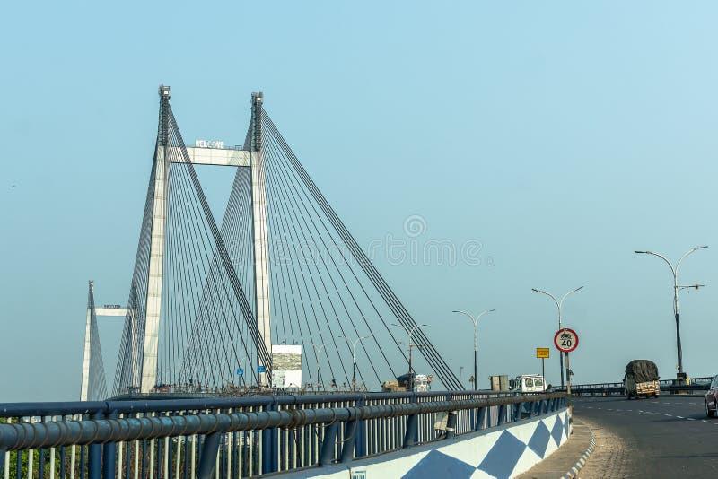 Ponte de Vidyasagar Setu/em segundo Hooghly foto de stock royalty free
